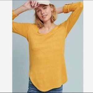 🆕 Anthropologie Mustard Yellow Tunic Top, Size XL